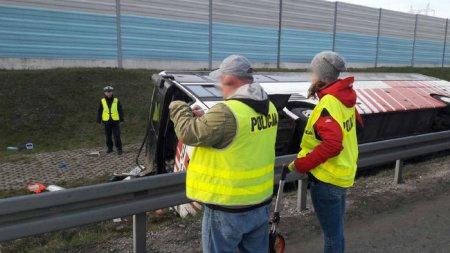 В Польше на трассе А2 возле Лодзи 25 апреля перевернулся автобус с белорусскими туристами, список пострадавших