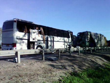 В Тульской области на трассе М-4 «Дон» 15 мая столкнулись пассажирский автобус и грузовик. ВИДЕО