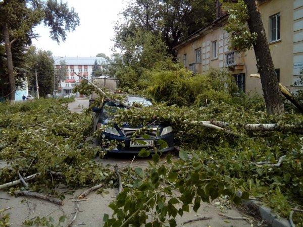 В Самаре сильный ветер снес остановку и оборвал провода