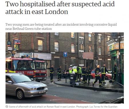 В Лондоне 25 июля неизвестные облили двух человек кислотой на улице Роман-роуд