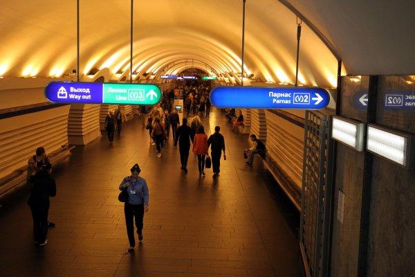 Голый мужчина устроил дебош в метро Петербурга и его сняли на видео