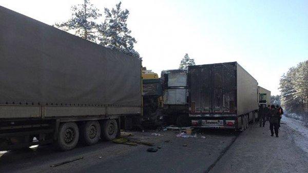На челябинской трассе произошло ДТП с участием семи фур