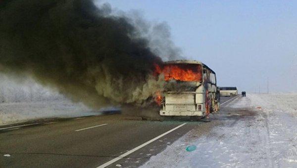 Стали известны причины, из-за которых сгорел автобус в Казахстане