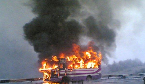 Не доехал: На юго-западе Москвы загорелся автобус