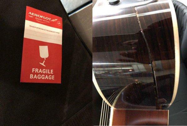 Сотрудники «Аэрофлота» сломали пассажиру гитару стоимостью 1000 евро