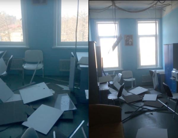 В открывшемся месяц назад перинатальном центре на Сахалине обрушился потолок