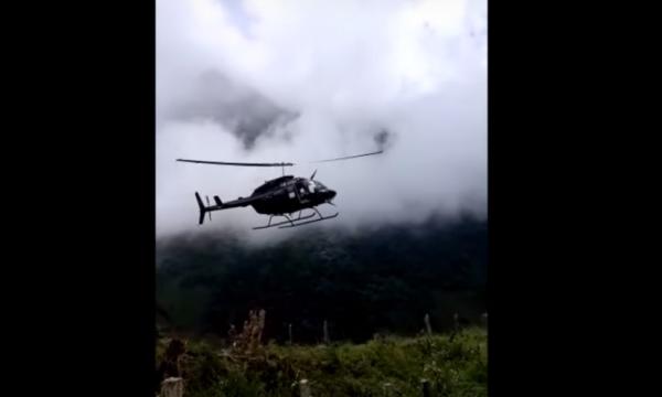 Крушение спасательного вертолета в Колумбии попало на видео