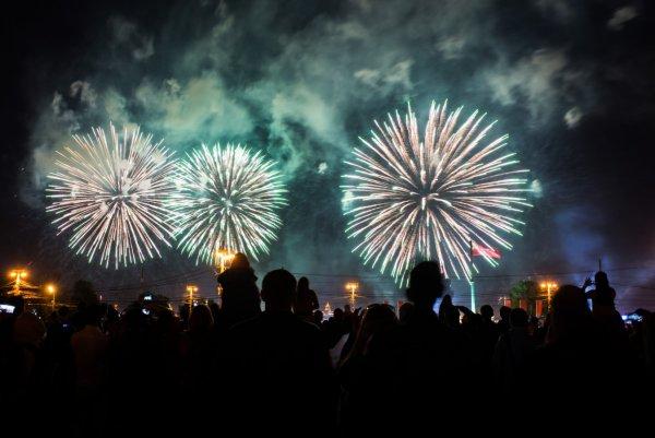 В парке Омска салют на День России попал в зрителей