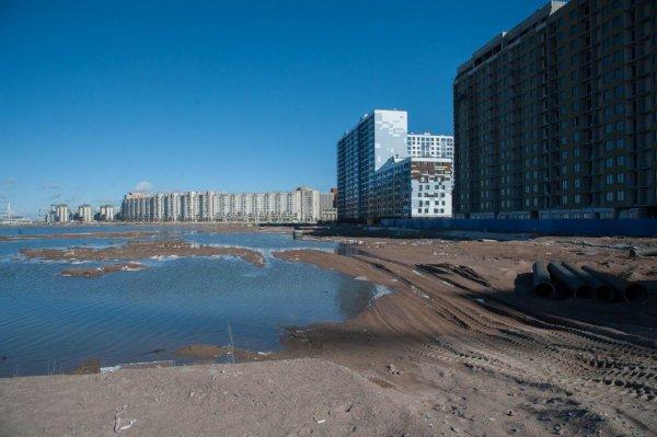 Пыль накрыла намыв Васильевского острова в Петербурге