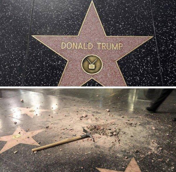 Вандал киркой разбил звезду Трампа на голливудской «Аллее славы»