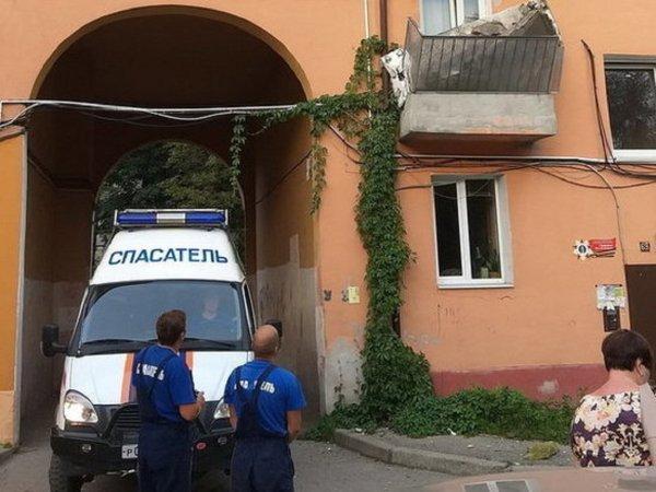 В Калининграде в многоквартирном доме рухнул балкон