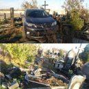 В Украине священник на внедорожнике разгромил кладбище